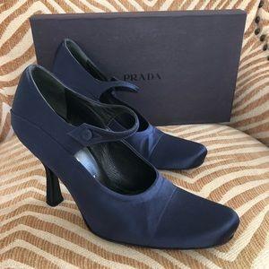 PRADA Satin Victorian Mary Jane High Heel Shoes